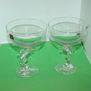 DOLPHINS Luminarc France Crystal Goblets Champagne
